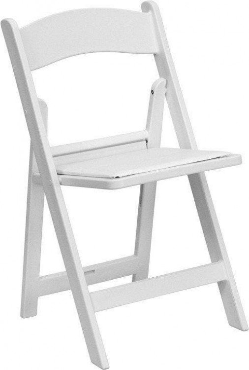 White Resin Folded Chair With Padded Seat